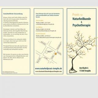 Werbeflyer für Naturheilpraxis Aussenseite, Design von Marie du Vinage
