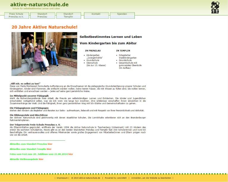 www.aktive-naturschule.de Umfangreiches Managmentsytem und Übernahme eines vorhandenes Templates von Bert Gerlach