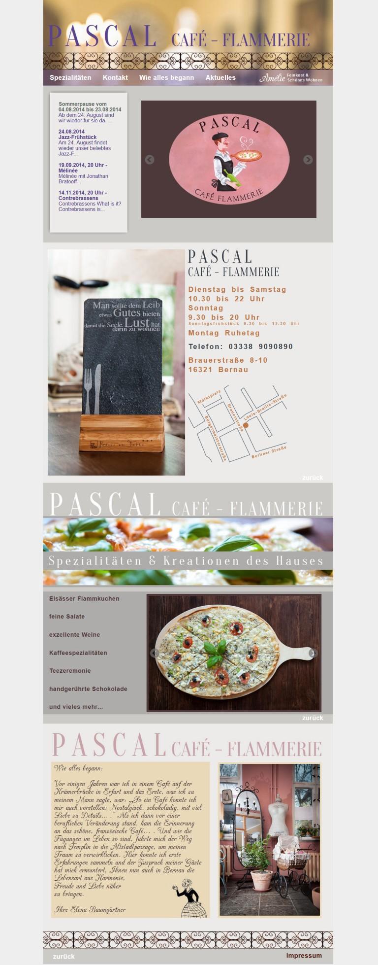 www.flammerie-pascal.de Umsetzung einer für Smartphones geeigneten Scrollseite von Bert Gerlach, Design von Marie du Vinage