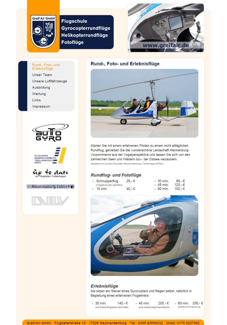 www.greifair.de. Umsetzung einer Grafikvorlage für ein Content-Management-System von Bert Gerlach
