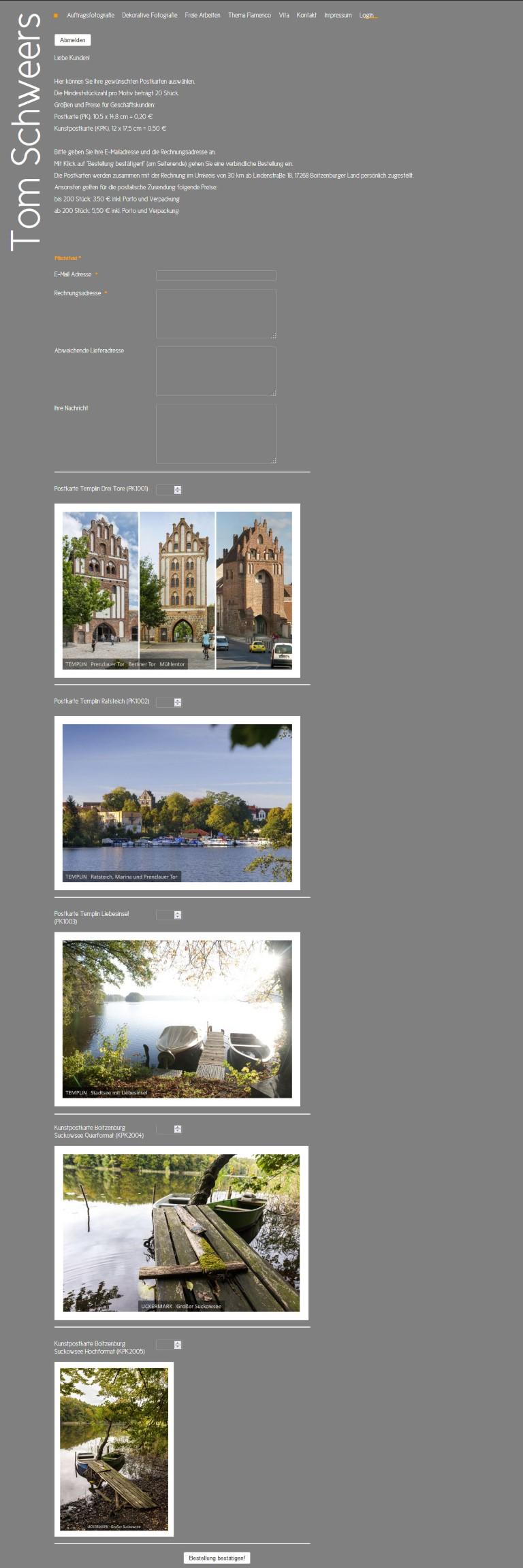 www.tomschweers.de Umsetzung eines automatischen Postkartenbestellsystems (Webshop) von Bert Gerlach